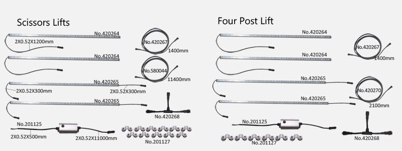 Scissor Lifts and Four Post Lift diagram.